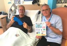 Kenyon Ward patient Leonard Turner and Staff Nurse David Cockburn highlighting the sleep packs that are available to patients