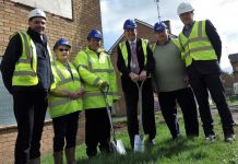 Dominic Whittaker from Manton Building Contractors, Sheila Hockenhull, David Disney from Manton Building Contractors, Councillor Paul Watling, Eric Hockenhull and Andy Johnson from The Wrekin Housing Trust
