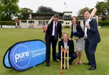 Toby Shaw from Shropshire County Cricket with Matt Sandford, Pure Telecom CEO, Sharon Hutchinson, marketing manager and David Hayward, managing director at Pure Telecom