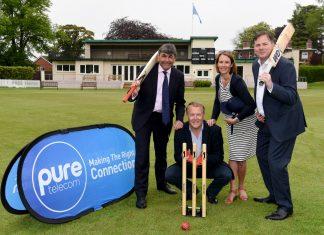 Toby Shaw from Shropshire County Cricket with Matt Sandford, Pure Telecom CEO, Sharon Hutchinson, marketing manager and David Hayward, managing director at Pure Telecom
