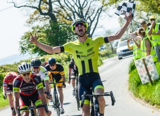 Chris Pook winning the Phil Ward Memorial Road Race. Photo: David Perry