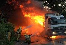 Firefighters work at the scene to put out the blaze. Photo: SFRS_Bridgnorth
