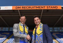 Shrewsbury Town's commercial manager Andrew Tretton with Stuart Danks, managing director of DM Recruitment