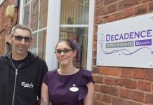 Jeff and Hannah Trumper outside Decadence Beauty salon