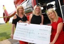 Jackie Young and Mel Edwards of Dyke Yaxley present a cheque to Maria Jones the MAAC Fund Raising Manager for Shropshire