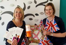 Esther Wright, director of Fizz Festivals Ltd, and Julia Allinson from Homestart, celebrate a new charity partnership ahead of Proms and Prosecco in the Park