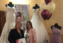 Lisa Snape from the Best Western Valley Hotel in Ironbridge with Sam Ellam from K T Bridal preparing for the wedding open day