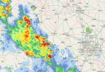 A radar image of the heavy rain falling in south Shropshire on Thursday evening
