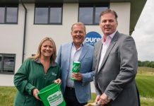 Kate Thomas from Macmillan Shropshire prepares for the fundraising county cricket event sponsored by Pure Telecom with sponsor CEO Matt Sandford and MD David Hayward