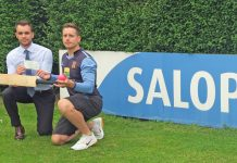 Salop Leisure's marketing manager Ed Glover with Shrewsbury Cricket Club's spokesman Rob Foster after agreeing the sponsorship deal