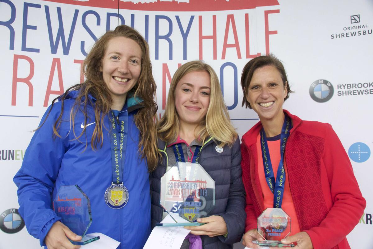 The top three female winners of the Shrewsbury Half Marathon