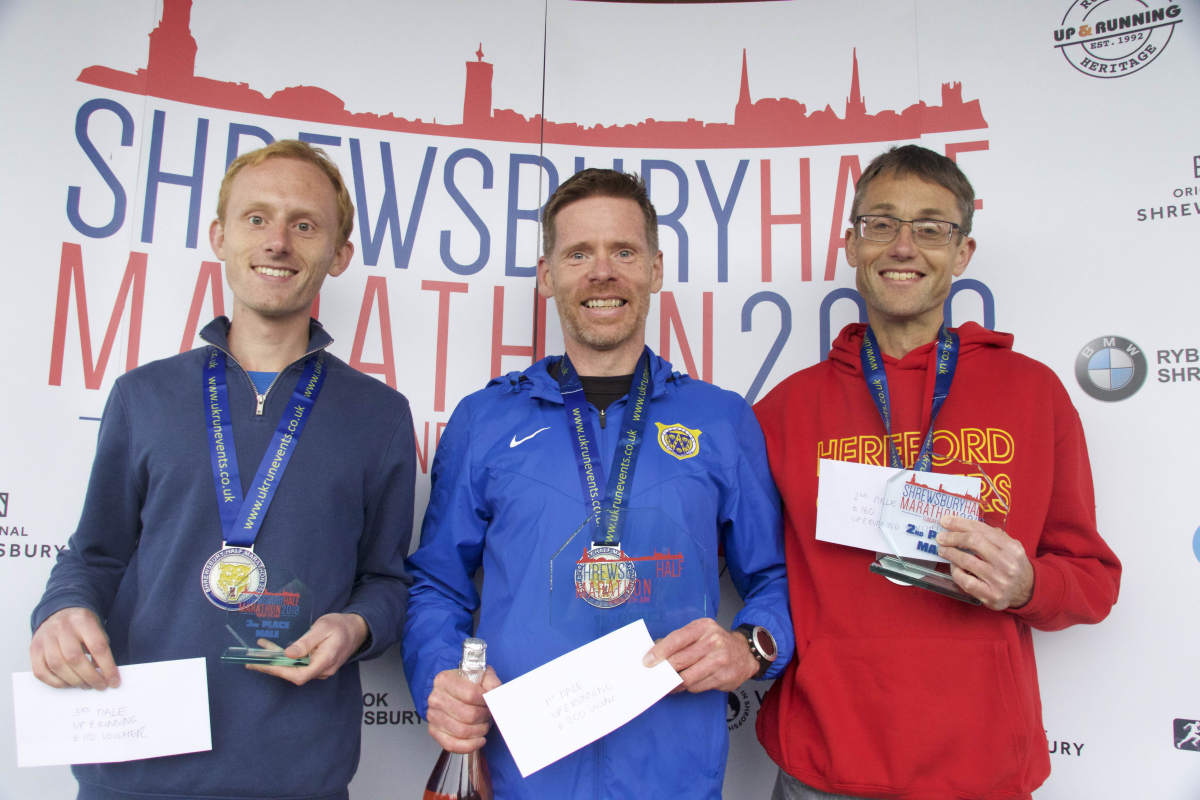 The top three male winners of the Shrewsbury Half Marathon