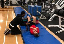 Student Brandie Mason working with Ruddy Farquharson from the English Institute of Sport