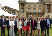 The Ellesmere College students, past and present, at Buckingham Palace getting their Duke of Edinburgh gold awards
