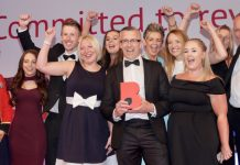 The Shrewsbury Club team celebrate at the Shropshire Chamber Business Awards