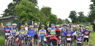 Young cyclists gather on the start line at Loton Park Hill Climb