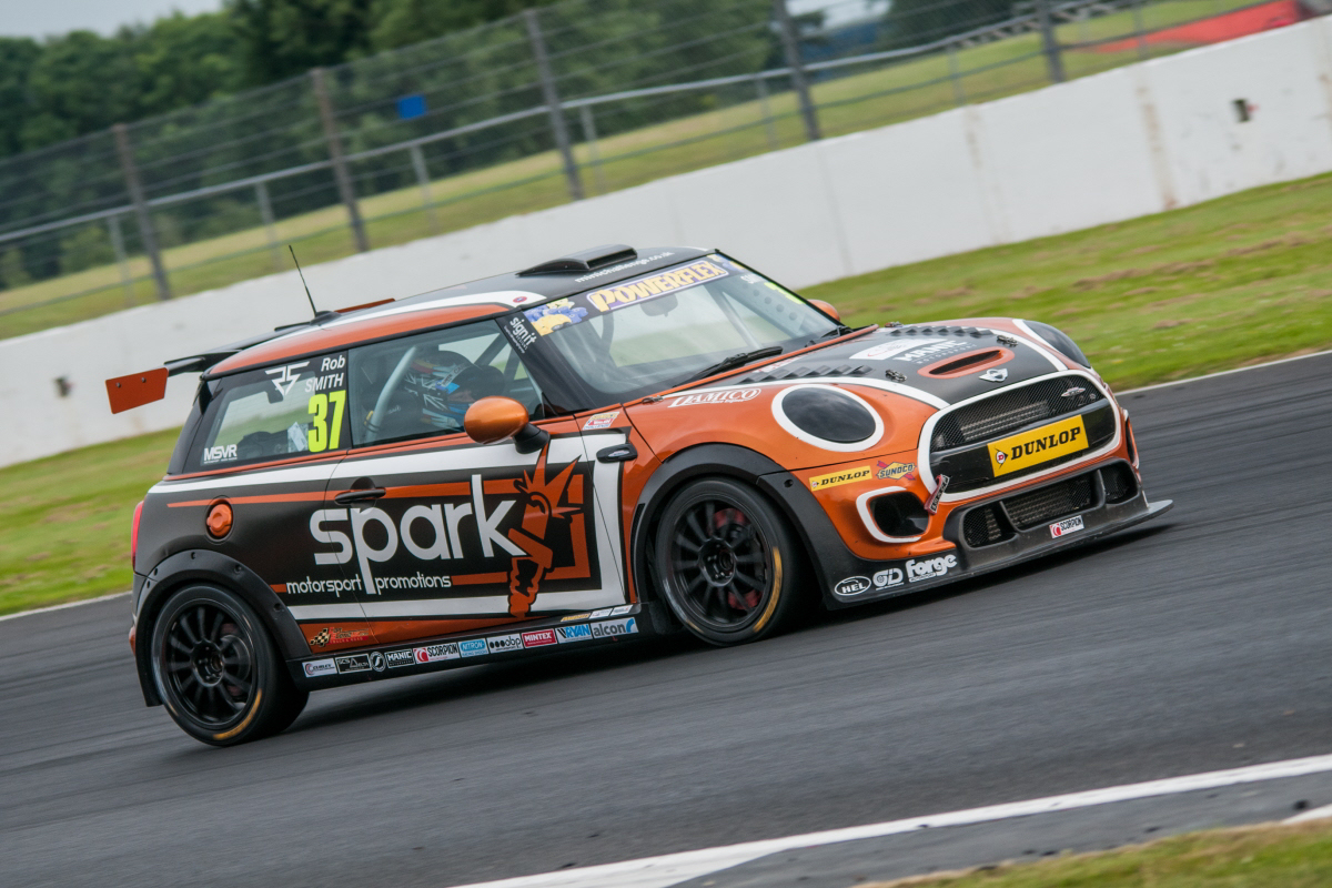 Rapid MINI Challenge racer Rob Smith on the track at Silverstone. Photo: Mark Campbell/CarSceneUK
