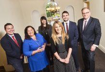 Andrew Chandler, Sarah Coyne, Sharon Lerry, Rhiannon Radcliffe and Ben Rothery with Chairman Maynard Burton