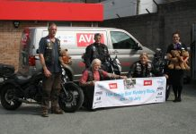 Stuart Morrisey, centre, and the other riders before the trip