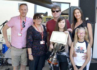Winner of the Jon Brookes award, April Preece, with Martin Blunt, Deborah Hill-Brookes, Coco Brookes and Music Technology teachers Ian Round and Beth McGowan