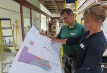 Sarah Jamieson, Head of Midwifery at SaTH, at Shrewsbury MLU looking at the plans with Mark Hassall, site manager from Bow Construction