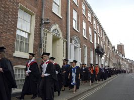 Students take part in a Graduation Parade from Shrewsbury Market Square to St Chad's Church