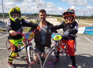 Archie Smallman, 7, with Kieran Edwards, club coach and chairman with Eddie Smallman, 9, preparing for the British BMX Series this weekend at Wrekin Riders BMX Race Club