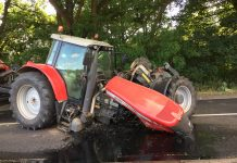 Oil leaked from the engine of the tractor following the collision. Photo: @SFRS_CravenArms