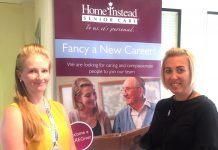 Beckie Khawaja, employment advisor at Department for Work and Pensions (L) and Katie Penny, Shropshire Housing Alliance Support Worker (R) on-hand to help at the Care Fair