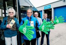 Marking the start of 'Catch The Bus Week' is from Bus Users Shropshire Joan Collins - committee member, Harold Bound - Chair of BUS, Les Bell - Secretary. and Arriva Regional Ops Manager Jack Grove