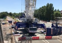 The crane which lifted the section of the bridge is one of the largest in Europe