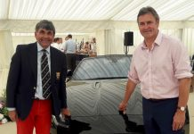 Event organiser Toby Shaw, left, the chairman of Shropshire County Cricket Club, and Chris Cowdrey, the former Kent and England captain, who was master of ceremonies