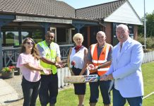 Pictured at the cheque presentation from left, Sonya Bagley, Rakesh Mal, Pat Kirk and Steve Malkin of Galliers Homes with Andy McIllroy of Bomere Heath Cricket Club