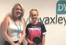 Dyke Yaxley's Mel Edwards and table tennis hopeful Megan Jones