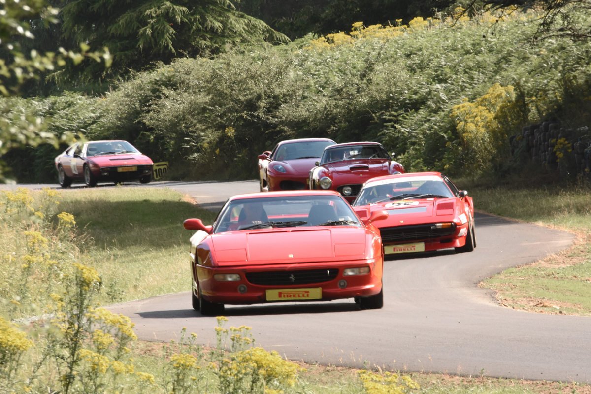 Ferrari cars lined up and ready for action at Loton Park