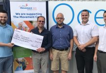 : From left Curtis Langley from The Movement Centre is presented a cheque by Jeremy Rose, managing director at Ocean Telecom with colleagues Simon Calloway, Sean Bolas and Robin Talbot