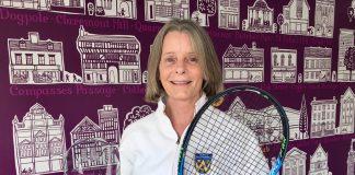 Liz Boyle with the LTA Meritorious Service Award she received at Wimbledon