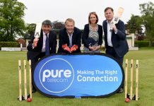 Getting ready for the event are Toby Shaw from Shropshire County Cricket with Matt Sandford, Pure Telecom CEO, Sharon Hutchinson, marketing manager and David Hayward, managing director at Pure Telecom