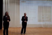 Emma Ferguson and Ruth Martin from Aico speaking to Year 9 students at St. Martin's School