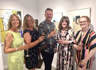 Pictured at the opening of the exhibition, from left, Jocelyne Fildes, Katy Rink, Jonathan Soden, Sarah Edwards and Erin Hawkin