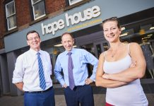Richard Connolly and Peter Stephen from mfg Solicitors with Emily Jones from Hope House