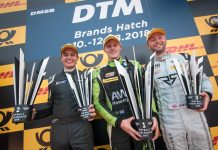 Rob Smith (right) on the podium at Brands Hatch Grand Prix Circuit. Photo: Mark Campbell/CarSceneUK
