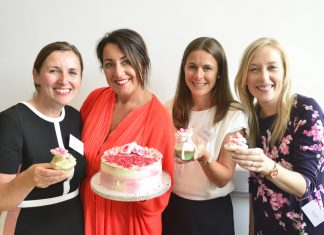 Pictured with some of the finished efforts are, from left, Violet Hammond, of Clarke Fencote LLP, Kerry Sheldon-Jones, of Equilibrium Clinic, Charlotte Butler of Aaron & Partners and Melanie Taylor