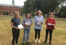 Collecting their results at Shrewsbury School ate Imogen Evans, Sophia Price, Jessie Inglis-Jones and Angus Warburg