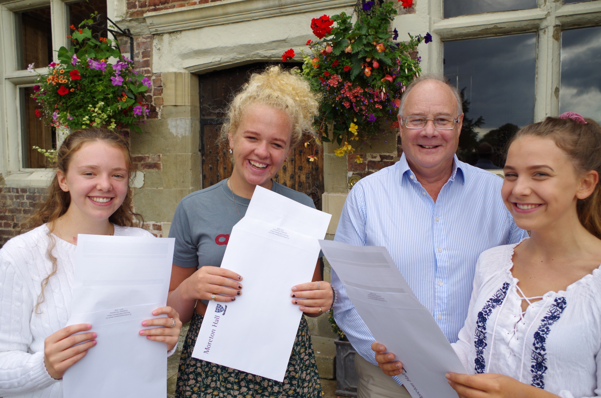 Alice Lovell, aged 16, Alysha Brown, aged 16, Mr Jonathan Forster, Principal, Moreton Hall and Jemina Davenport, aged 16