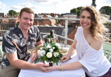 James Hinch proposed to his girlfriend Sandra Phillips on the rooftop of Shrewsbury Market Hall