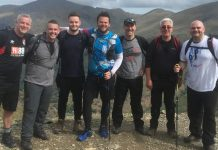 Richard Lent who is far right and Tom Williams third from the left will take on the challenge