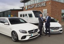 Robert Preston (left) from Mercedes Benz Shrewsbury and Ed Glover from Salop Leisure with the Mercedes Benz CLA 180 AMG Line Shooting Brake