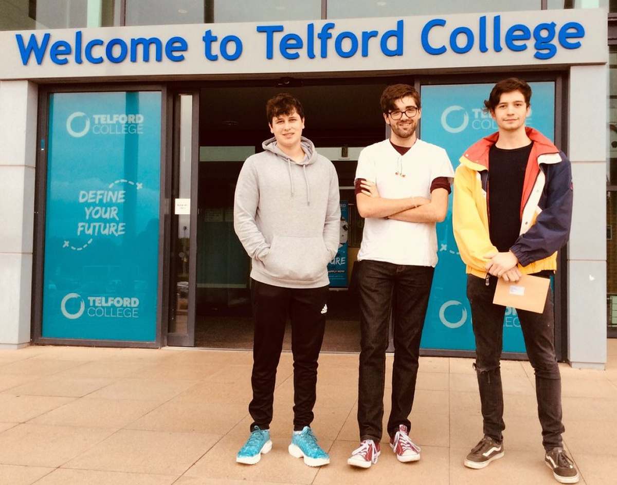 Telford College Students collect their results: Adam Lewis, off to study mechanical engineering at Liverpool, Jack Pearce, who has physics offers from two universities, and Jake Bennett who will be reading physics at Aberystwyth