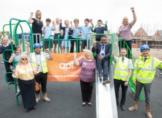 Mayor of the Borough of Telford & Wrekin Councillor Raj Mehta tries out the new area with children from Newdale and teachers and site workers